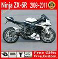 Popular Fairings kits for Kawasaki ZX6R  2009 2010 2011 2012 white black fairing bodywork set 636  09-12   FG35