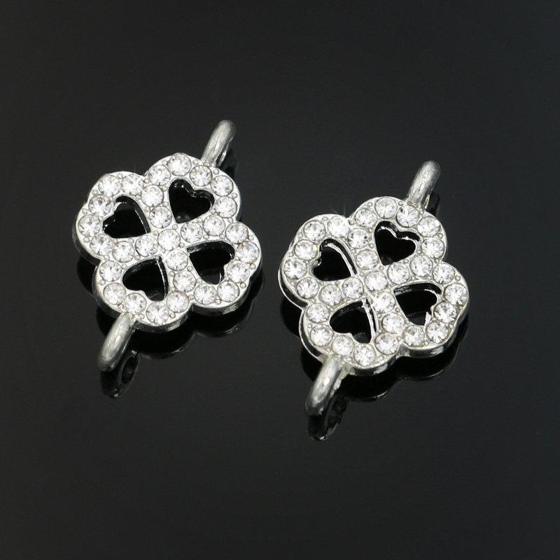 6pcs Silver Plated Enamel Clover Lucky Connectors Fit Jewelry Making Bracelet Findings Accessories DIY Craft 20x13mm