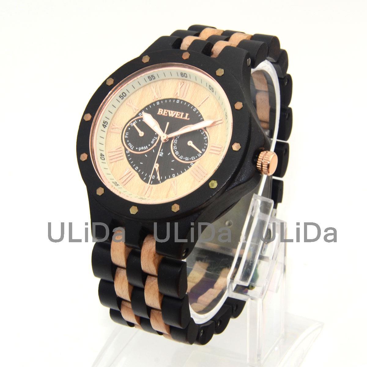 Weekly Calendar Quartz : High quality bewell wooden watches calendar week roman