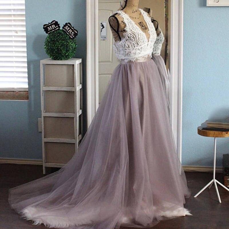Faldas Saias Mauve couleur longue Tulle jupes femmes fermeture éclair sur mesure longueur de plancher a-ligne Tutu jupe haute qualité femme bas