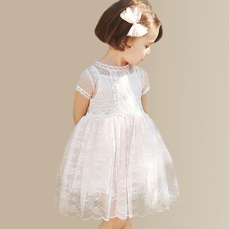 2016 Summer Baby Flower Girls Lace Princess Dress Children Lolita Style Party Tutu Dresses Girl Pink Floral Dress Kids Clothes
