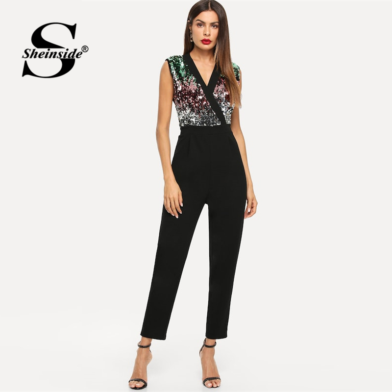 8848783bef3fe Sheinside Fashion Colorblock Sequin Party Jumpsuit Women Summer Sexy  Sleeveless Black Jumpsuits 2019 New V Neck