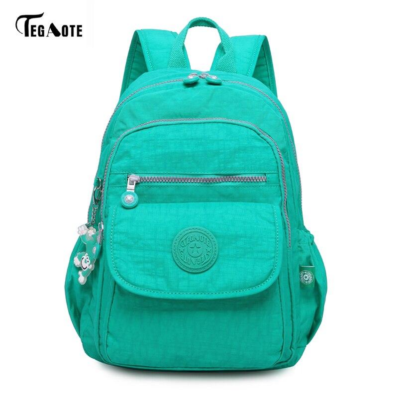TEGAOTE Women Backpack Laptop School-Bags Teenage Nylon Travel Female Girls for Sac Dos