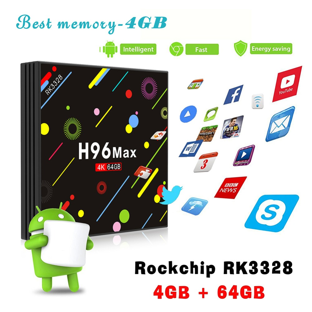 Nuovo H96 MAX H2 Android 7.1 Smart TV Box Rockchip RK3328 Quad Core 4 gb di RAM 32/64 ROM Suppot H.265 UHD BT 4 k 5g WiFi Set Top Box