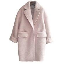 Зимние Для женщин розовый Шерстяное пальто длинный толстый женские пальто свободные негабаритных кардиган Для женщин шерстяные Куртки Пальто и пуховики Sobretudo Feminino