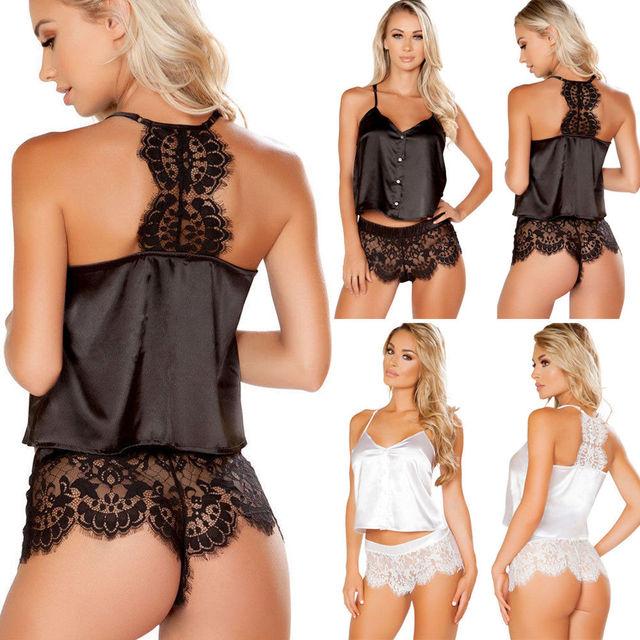 c87e43412e 2018 2Pcs Women Sexy Satin Lace Sleepwear Babydoll Lingerie Nightdress  Pajamas Set Flower Hot Shorts+Camisole V-neck Sleepwears