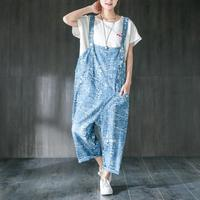 Woman bodysuit Women Summer Casual Loose Dungarees Loose Long Pockets Cartoon Print Rompers Jumpsuit Trousers Denim fashion 2019