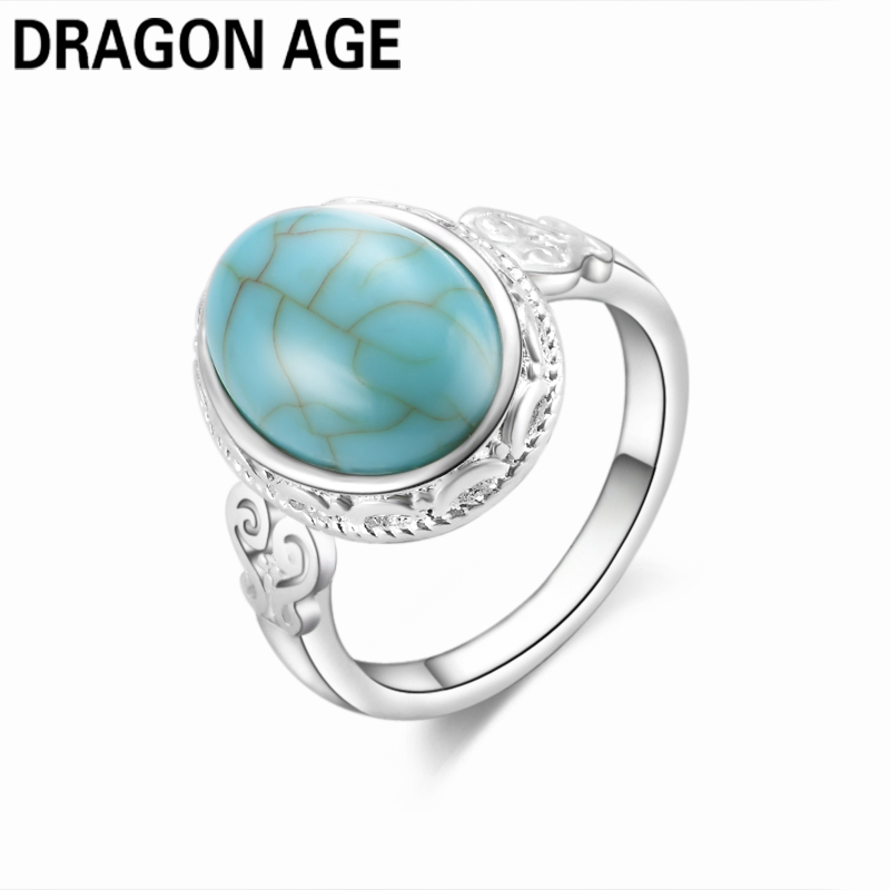 Fine Jewelry Womens Oval Green Turquoises Stone Ring Personalized Vintage Antique Silver Tibet Finger Rings Size 6-10