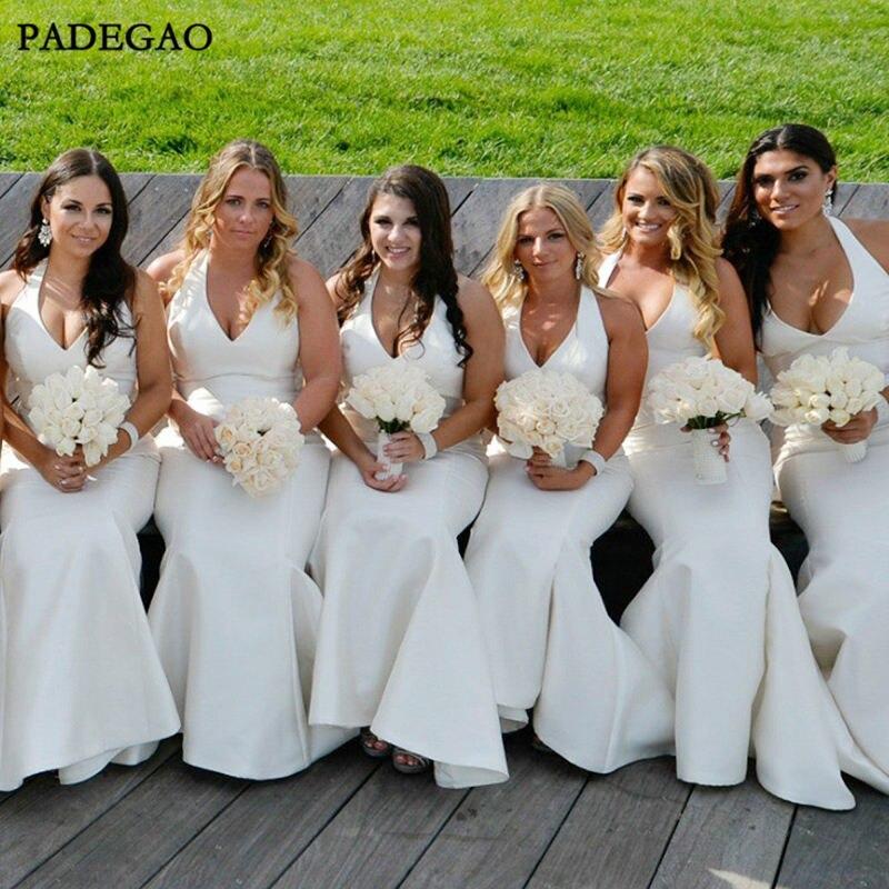 Robes de demoiselles d'honneur blanches simples robes de demoiselles d'honneur sans manches sirène licou bal grande taille