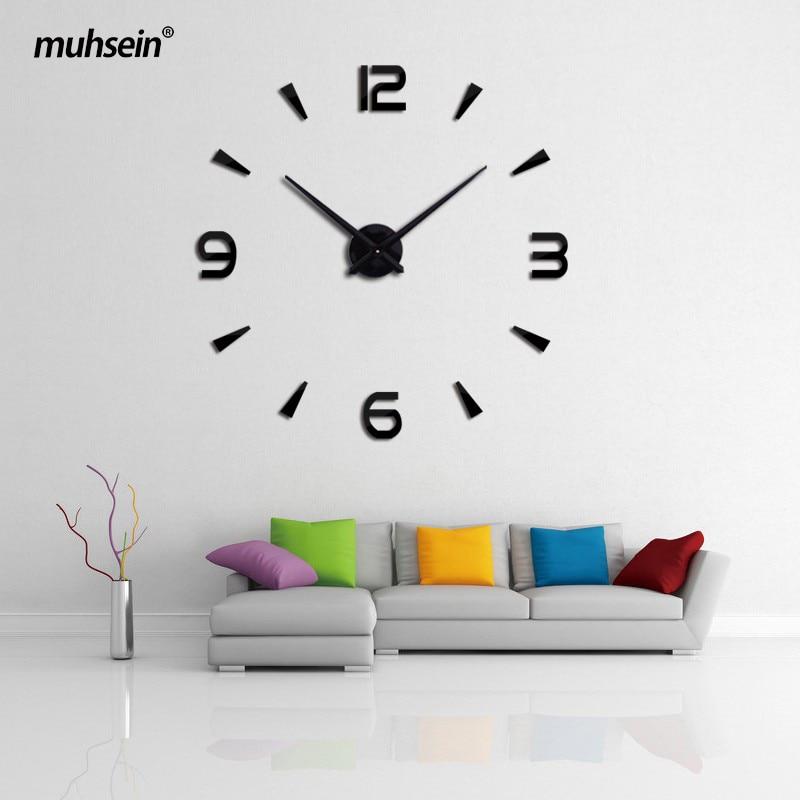 Muhsein Новинка 2017 года настенные часы акриловые металлические зеркало Большой персонализированные украшение стены Часы 3D большой стикер часы Бесплатная доставка