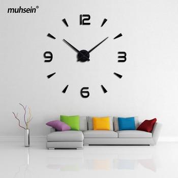 Muhsein 2019 Baru Jam Dinding Akrilik Logam Cermin Besar Dekorasi Pribadi Dinding Jam Tangan 3D Besar Stiker Dinding Clock Free Shipp