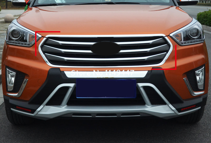 For Hyundai Creta Cantus ix25 2014-2016 Exterior Car Styling ABS Front Center Grille Grill Frame Trim 2pcs 2pcs chrome car styling exterior abs front