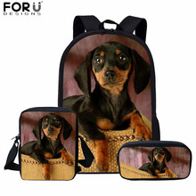 FORUDESIGNS Funny Dachshund Printed School Backpack Teenage Girls Boys Children Schoolbag Set Mochilas 16inch Kids Rugzak