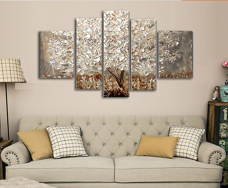 Golden Abstract Fortune Lucky Trees Handmade Landscape Oil Paintings ...