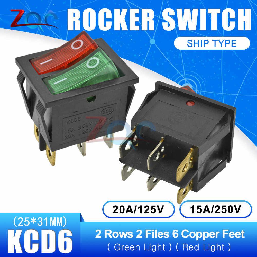 KCD6 Dual Rocker Switch On-Off 2 3 Posisi 6 4 Pin 6Pin 4pin Peralatan Double Lampu Power switch 15A/250 V AC