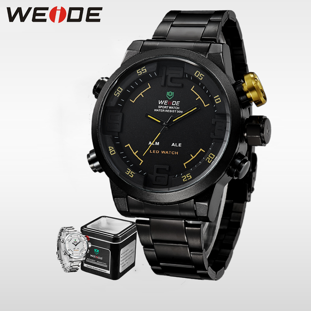 WEIDE Mens Sports Watches Top luxury Brand LED Analog Digital Display Waterproof Army Military Clock Stainless Steel Wrist Watch weide popular brand silver stainless steel watch men analog digital display quartz movement sports army military wrist watches