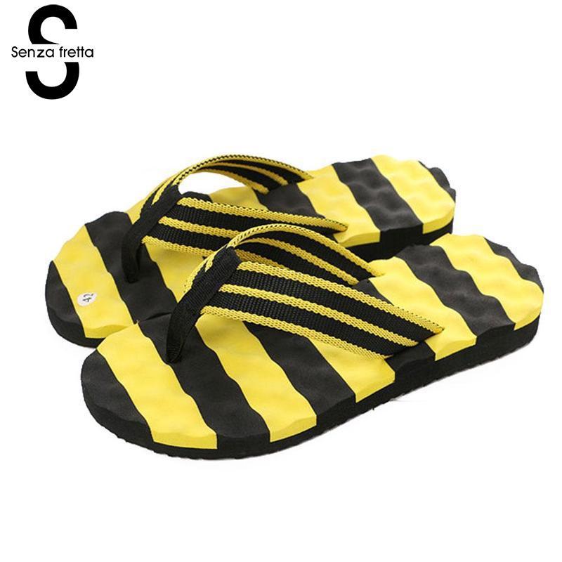 Senza Fretta Summer Men Slippers Flip Flops Fashion Striped Beach Massage Shoes Slippers Flip Flops Flat Shoes Slides LDR4382 стоимость