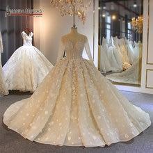 ארוך שרוולי כדור שמלת חתונת שמלת אמנדה novias גבוהה באיכות תפור לפי מידה