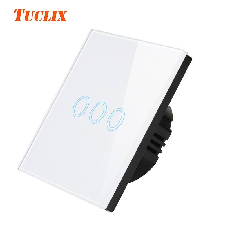 TUCLIX EU/UK Standard Touch Switch 3 Gang 1 Way Wall Light Touch Switch-Crystal Glass Switch Panel white eu uk standard touch switch 3 gang 1 way wall light touch screen switch crystal glass switch panel popular