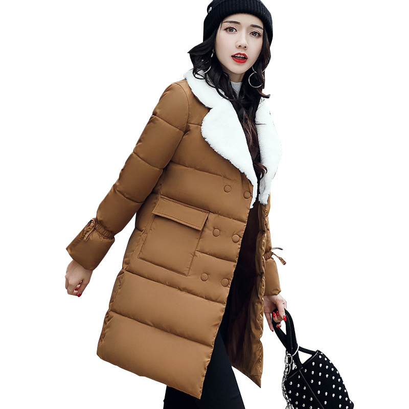 2019 fur turn down collar women winter coat female outerwear   parka   ladies thick warm long jacket slim jaqueta feminina
