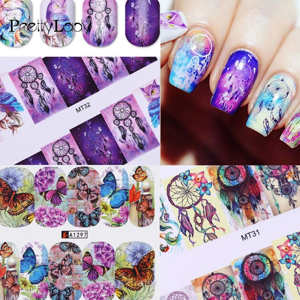 FOCALLURE 50 Sheets Nail Art Stickers Mixed Designs Watermark Transfer Manicure Tips DIY Nail Art Tips Guides Stencil Strip 2 50sheets color flowers hot designs watermark nail stickers temporary tattoos diy tips nail art decals manicure beauty tools