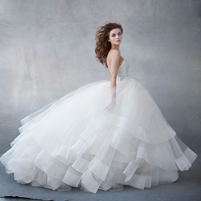 Fashion White ball gown Beaded Layered Wedding Gown gelinlik elbise ...