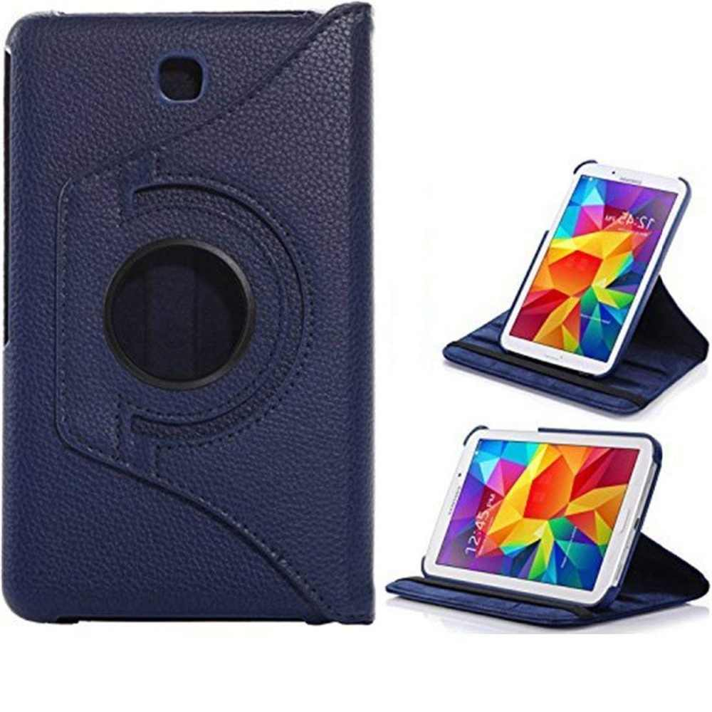 new styles cc40b feab1 PU Leather Cover Case For Samsung Galaxy Tab 4 8 SM-T330 T331 T335 Tab4  8inch Tablet 360 Degree Rotating Flip Case Screen Glass