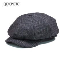 Qdkpotc Fashion Kotak-kotak Wol Tukang Koran Topi Wol Ivy Hat Golf Datar  Mengemudi Sopir Flat Unisex Baret Topi 19728e7b86