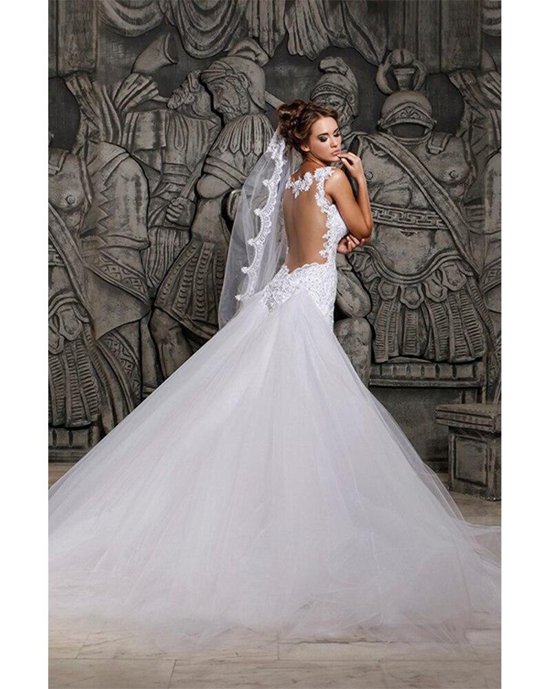 Luxurious White Beaded Rhinestone Mermaid Princess Wedding Dresses ...