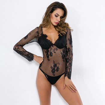 Women Lace Teddy Naughty Sexy Lingerie Exotic Bodysuits Underwear Babydoll Body Long Sleeve Lady Costumes Summer Clothes New Teddies