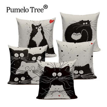 Soft Cotton Black And White Cat Family Cat Cartoon Bedding Set 45Cmx45Cm Square Kids Birthday Decorative Printed Pillow Case image