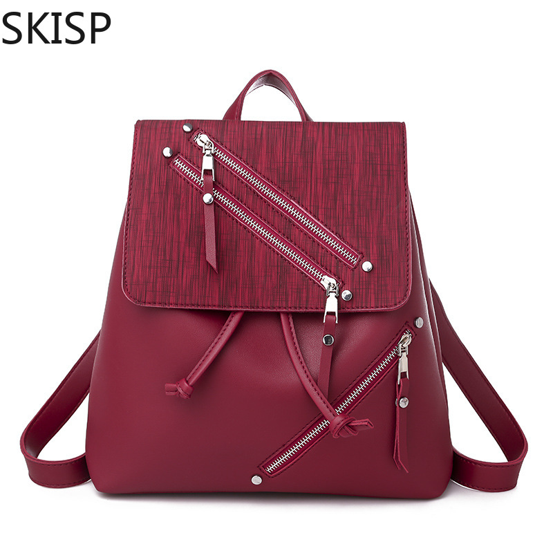 Fashion Backpack Women Top Quality Youth Leather Backpacks for Teenage Girls Female School Shoulder Bag Bagpack mochila Red Pink