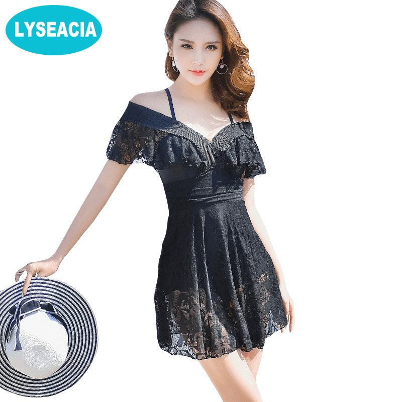 LYSEACIA Female Swimsuit Beach Plus Size Swim Dress Women One Piece Swimwear Large Size Lace Beach Dresses Women's Swimsuits large size swimsuit female swimwear one piece plus size women s swimsuits retro women swim suit beach may sex bath suits d699