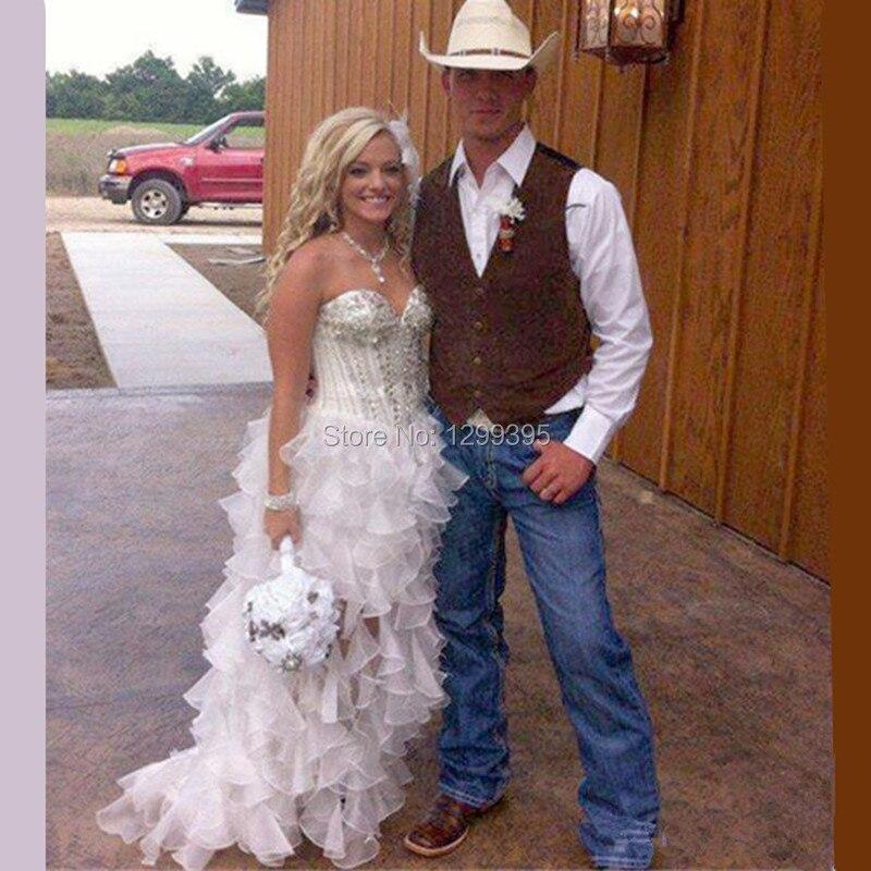 Vestito Da Sposa Western.Robe De Mariage Vintage Country Western High Low Abito Da Sposa