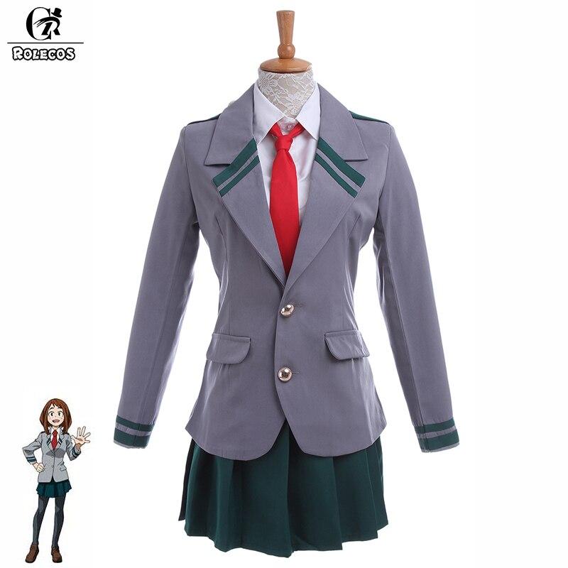 ROLECOS Japanese Anime My Hero Academia Cosplay Costume Asui Tsuyu Boku no Hero Academia Ochako Uraraka Uniform Cosplay Costume