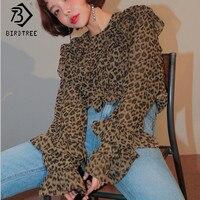 Primavera Verão 2018 Moda Personalidade Leopardo Chiffon Alargamento Mangas Blusas Camadas Ruffles Sexy Ladies Shirt Mulheres Tops T81909A