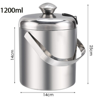 Free Shipping 1.2L Stainless Steel Handle Ice Cube Bucket Chrome Finish Thick Ice Pail with Tweezers 14cm x 25cm