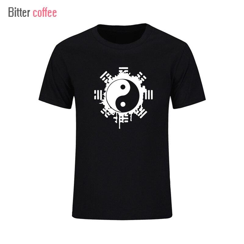 2017 модная летняя футболка мужские топы Китайский Тай Чи чернильный Инь-Ян печатный хлопок одежда футболки