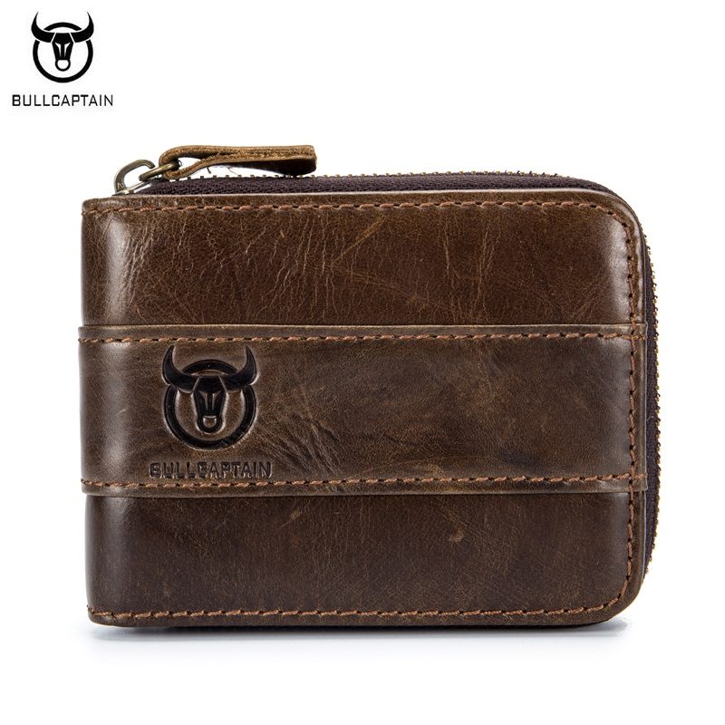 BULLCAPTAIN Top Quality Cow Genuine Leather Men Wallets Fashion Joint Purse Dollar Carteira Masculina Design Credit Card Holder ivotkova top quality cow genuine leather men wallets fashion splice purse dollar bag price carteira masculina free shipping gift