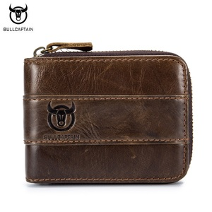 Image 1 - BULLCAPTAIN Top Quality Cow Genuine Leather Men Wallets Fashion Joint Purse Dollar Carteira Masculina Design Credit Card Holder