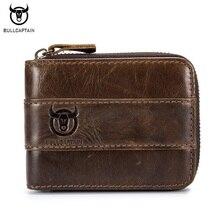 BULLCAPTAIN en kaliteli inek hakiki deri erkek cüzdan moda ortak çanta dolar Carteira Masculina tasarım kredi kart tutucu