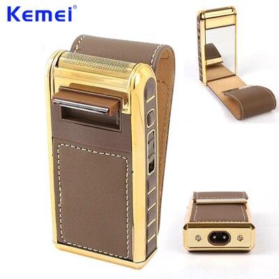 KEMEI-Mini rasoir électrique Rechargeable, à coque en cuir, portable, tondeuse à lame pour homme, cadeaux, KM-5500