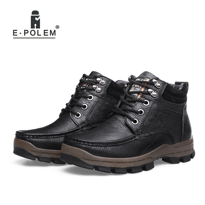 Genuine Leather Casual Shoes for Men High-Top Lace-Up Ankle Shoes Black/Brown Flat Shoes Men's Warm Velvet Lining Leather Shoes men casual trend for fashion lace up outdoor hiking flat type ankle leather shoes