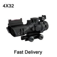 Hunting Optics Goliath 4x32 Tactical Compact Riflescope Fiber Optics Sight Tri Illumination Chevron Reticle M4 AR15