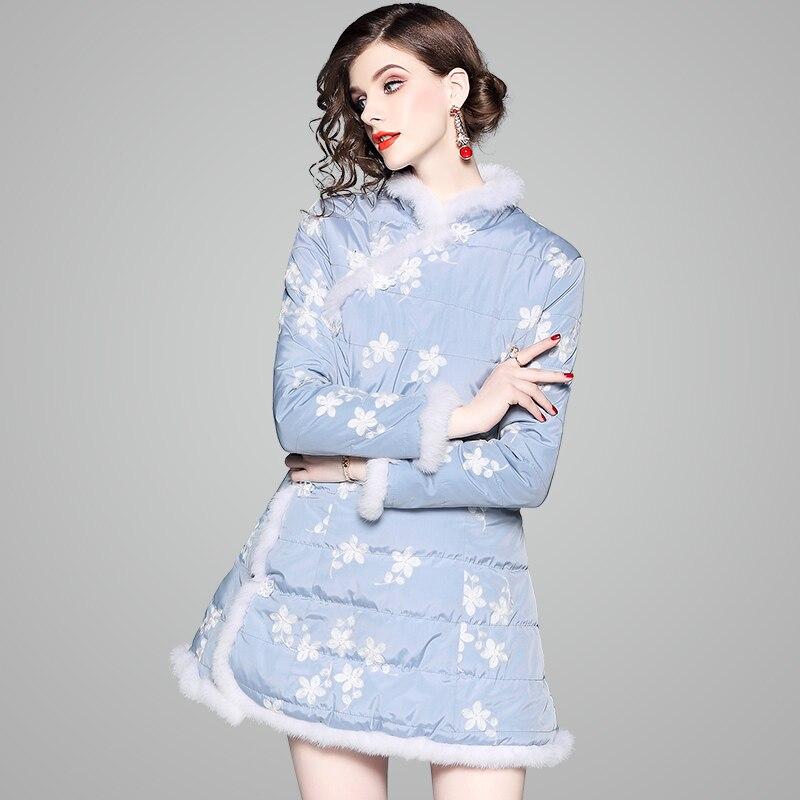 d2af3d181c Parka Hiver Chinois Fourrure Style Bleu Floral Femme Blanc Automne Ciel  Garnitures Manteau Robe De Motif Veste Mode Longue EpdyHSv