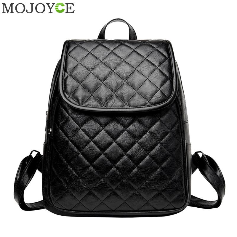 Women Zipper Plaid Pu Leather Backpacks Casual Teenage Girls School Travel Shoulder Bags Classic Casual Backpack Mochila