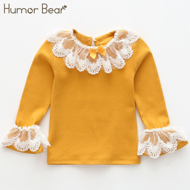 Humor Bear Baby Girl Tops 2018 New Fashion Lace Design Children