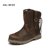 HALINFER work boots for men genuine leather fashion motorcycle boots brown western boots Lovers ankle boots