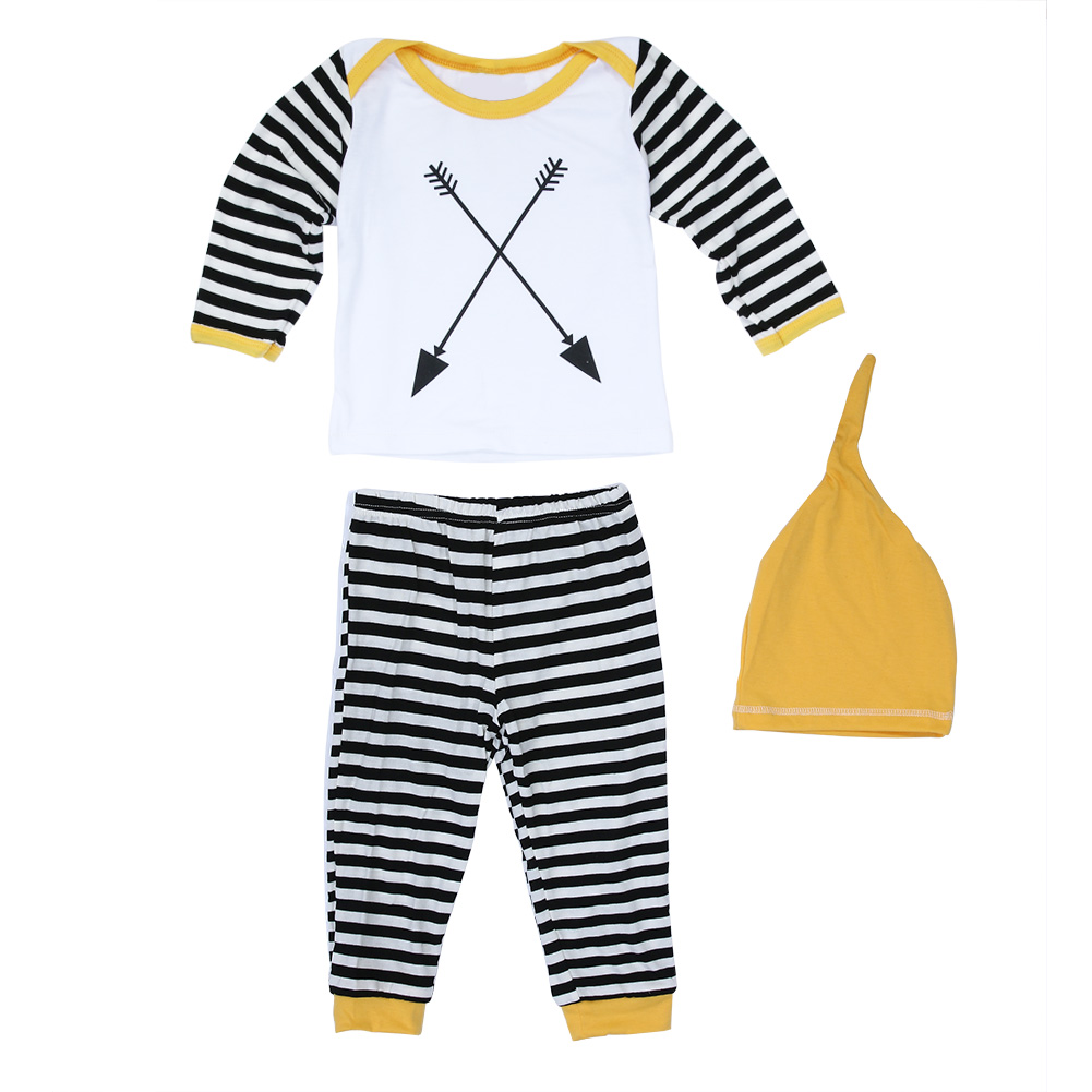 Newborn Unisex Cotton Clothing Set Baby Girls Boys Clothes Playsuit Long Sleeve Top + Striped Pants + Hats Outfits