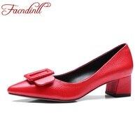Phụ nữ bơm 2017 mới mùa xuân hè thời trang med gót nhọn toe genuine giày da phụ nữ bơm đen red dress đảng giày